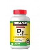 Viên uống Vitamin D3 Kirkland Extra Strength D3 50mcg