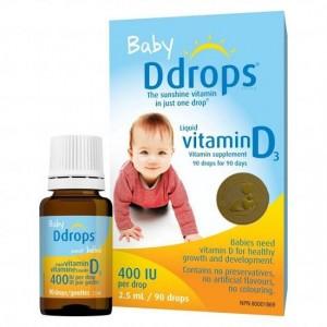 Baby Ddrops Vitamin D3 400 IU 90 giọt cho trẻ sơ sinh