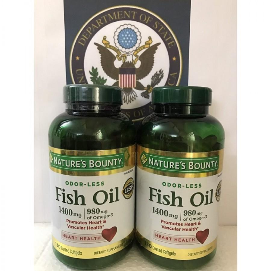 Dầu Cá Nature's Bounty Fish Oil 1400mg 130 Viên Không Mùi