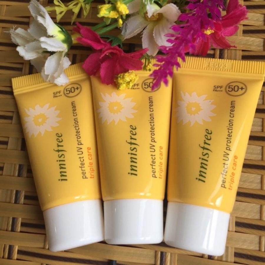 Kem Chống Nắng Innisfree Triple Care SPF 50+ PA+++ Cho Da Mụn