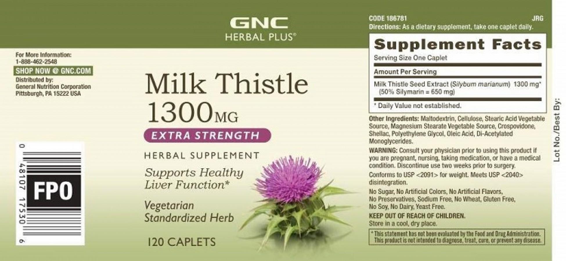 Viên Uống GNC Milk Thistle 1300mg Của Mỹ