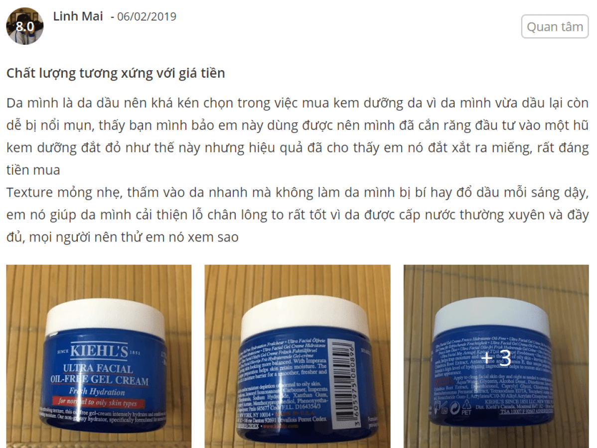 Kem Dưỡng Ẩm Kiehl's Ultra Facial Oil-Free Cho Da Dầu