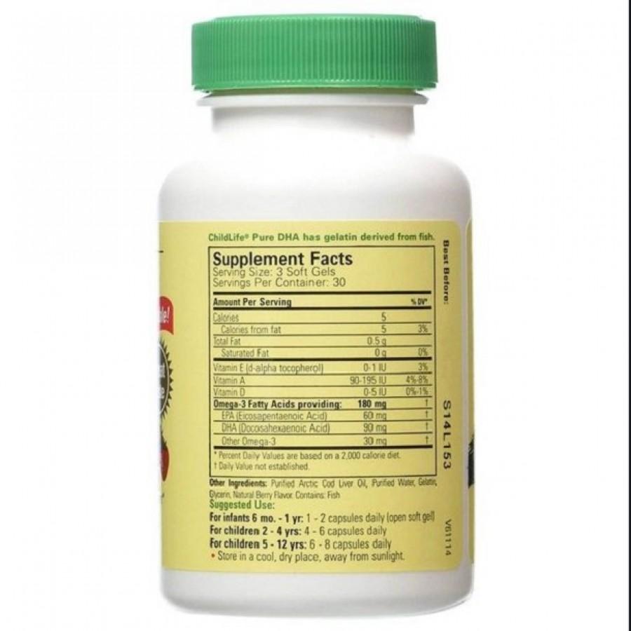 Vitamin ChildLife Pure DHA 90 Viên Cho Trẻ Từ 6 Tháng Tuổi