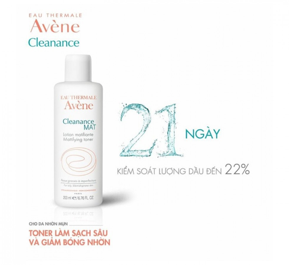 Toner Avene Pháp 200ml Giảm Bóng Nhờn Cho Da Dầu Mụn