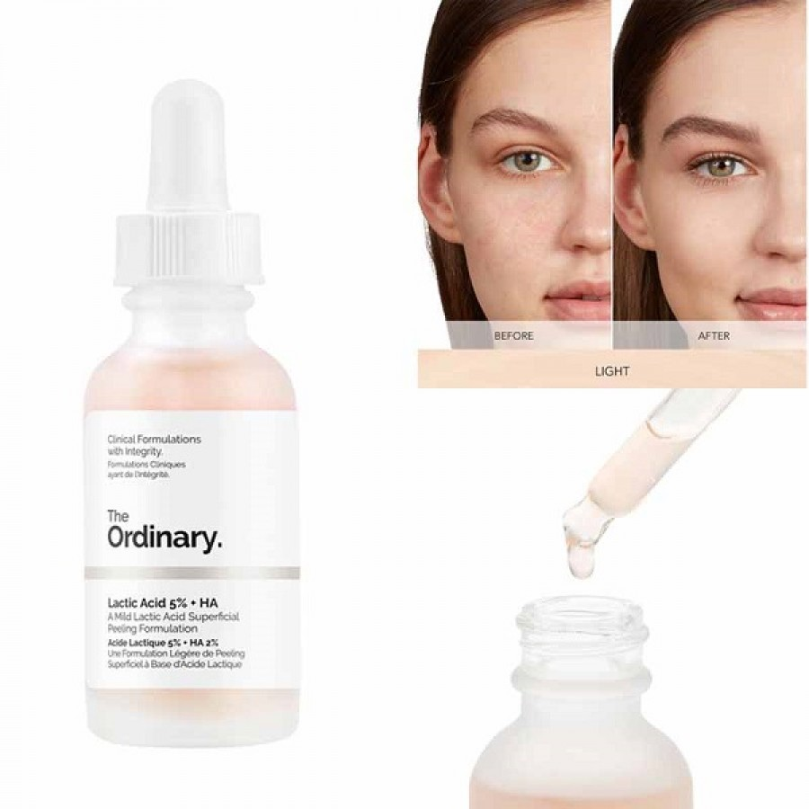 Serum The Ordinary Acid Lactic 5% + HA 2% Tẩy Da Chết
