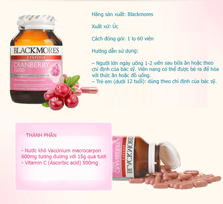 Blackmores Cranberry 1500mg, viên uống Blackmores Cranberry 1500mg
