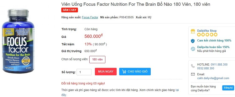 thuốc Focus Factor của Mỹ có tốt không, review thuốc Focus Factor, giá thuốc Focus Factor nutrition for the brain