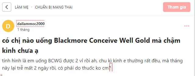 uống blackmore conceive well gold bị chậm kinh